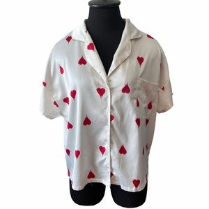 XXI White w/Red Hearts Print Button Up Pajama Top